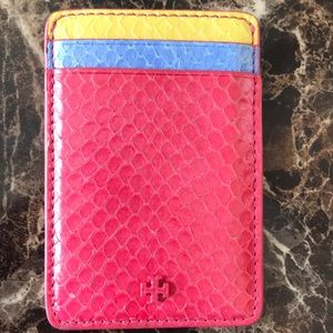 Tory Burch color block leather cardholder